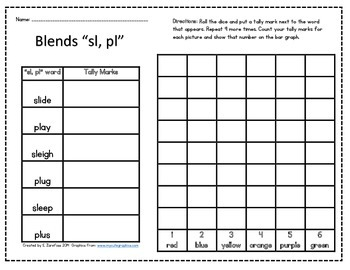 "Word Work: ""L"" Blends Roll, Tally & Graph"