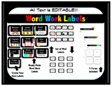 Word Work Labels (Black and White)