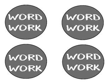 Word Work Labels - Chalkboard Theme
