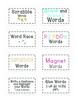 Word Work Labels and Materials