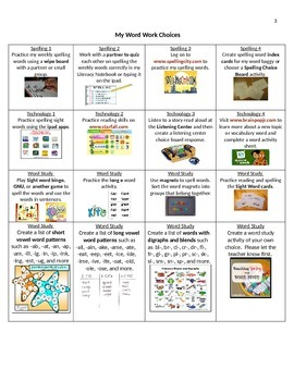 Word Work Lesson plan and Word Work Choiceboard for Centers Early Childhood