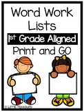 Word Work Lists 1st Grade