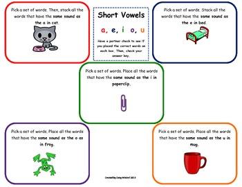 Word Work Daily 5 Hands-on Phonics Mat: Sort Short Vowel Sounds Journeys Unit 1