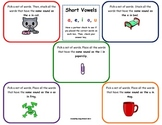 Word Work Daily 5 Hands-on Phonics Mat: Sort Short Vowel Sounds Journeys Unit 1
