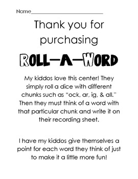 Word Work Literacy Center: Roll A Word