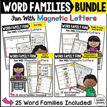 Word Work MEGA Bundle ~ 25 Word Families ~ Magnetic Letters Center!