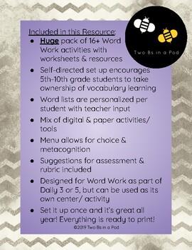 Word Work MEGA Pack for Middle School [Print & Go PDF]