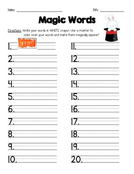 Word Work- Magic Words