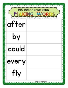 Word Work: Making Words 1st Grade Dolch