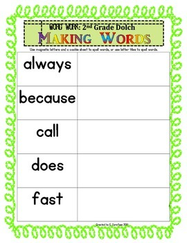 Word Work: Making Words 2nd Grade Dolch