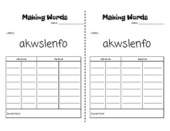 Word Work - Making Words - Half Pages 40 Pre-Made