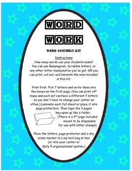 Word Work - Making Words Kit 1