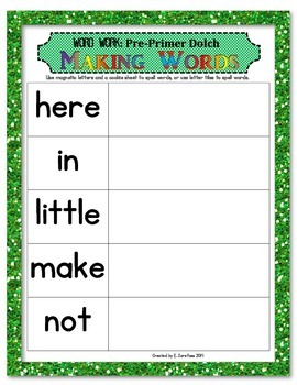 Word Work: Making Words Pre-Primer Dolch