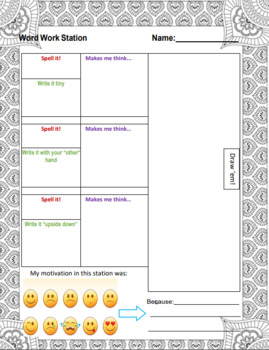 Word Work Mats for ANY Spelling Words