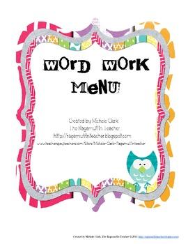 Word Work Menu {FREEBIE}