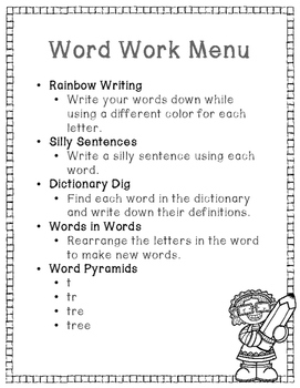 Word Work Menu