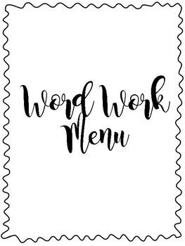 Word Work Menu