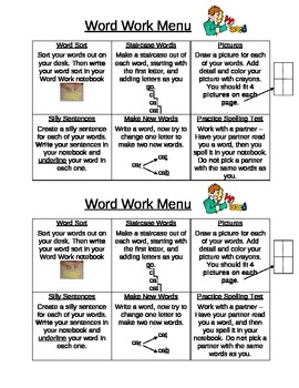 Word Work Menu - 6 boxes