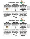 Word Work Menu - 6 boxes
