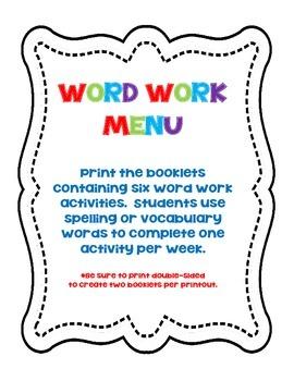 Word Work Menu Booklet