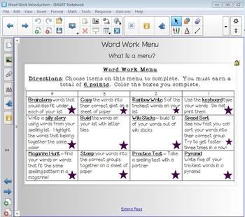 Word Work Menu SmartBoard