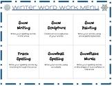 Word Work Menu: Snow Edition