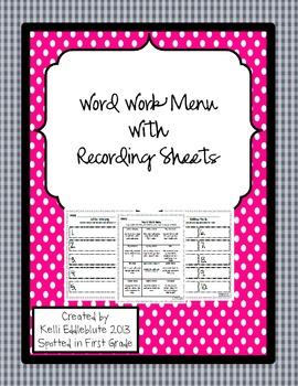 Word Work Menu and Recording Sheets {Freebie}