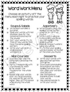 Word Work Menus: Spelling Practice Activities for Home