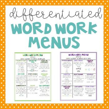 Word Work Menus