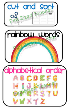 Word Work Mini Posters + 2 worksheets