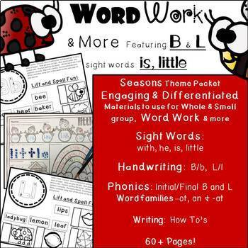 Phonics, Word Families, Handwriting, Write the Room, Seasons:  Word Work & More