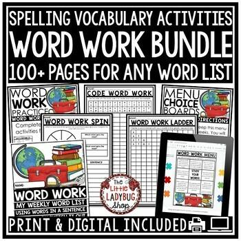 Spelling Activities For Any List & Word Work Activities Bundle