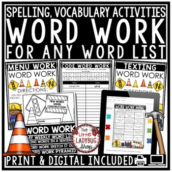 Spelling Activities for Any List of Words & Editable Word Work Activities