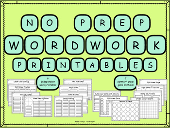 Word Work (No Prep Printables for ANY Word List)