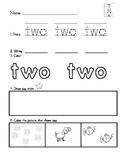 Word Work- Number words 1-10