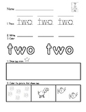 Word Work- Number words 1-10