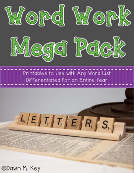 Word Work Mega Pack~Any Spelling List {Differentiated for an entire year}