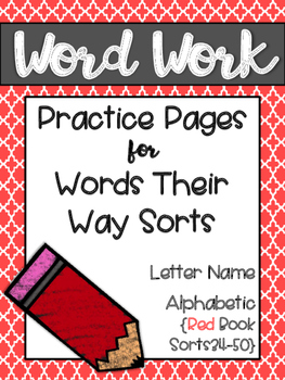 Words Their Way Word Work Practice Pages Red Book Sorts 34-50