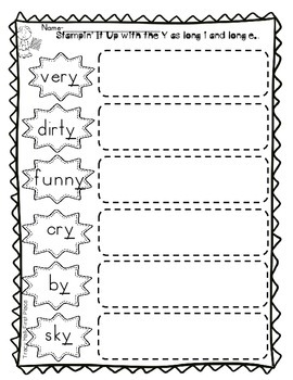 Word Work Phonics Spelling Long i Long e with Y- freebies included in preview