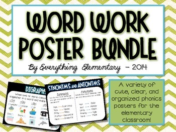 Word Work, Phonics, Parts of Speech, and Grammar Anchor Poster Bundle
