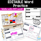 Word Work Practice EDITABLE for ANY Word Spanish Version Included