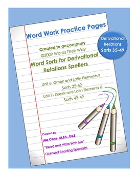 Word Work Practice Pages 2009 Words Their Way Derivational Relations Sorts 35-49