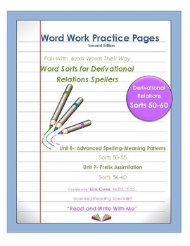 Word Work Practice Pages 2009 Words Their Way Derivational Relations Sorts 50-60