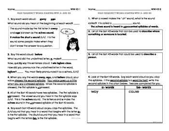 Word Work Practice Pages Words Their Way Within Word Pattern Sorts 43-50