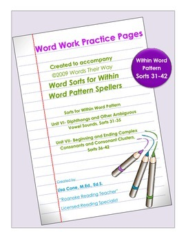 Word Work Practice Pages Words Their Way Within Word Pattern Sorts 31-42
