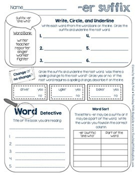 Word Work Practice ~ Suffixes