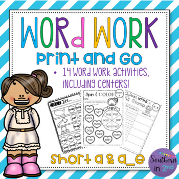 Word Work Print & Go! {Short and Long a}