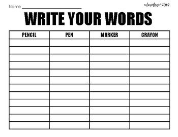 Word Work Printables