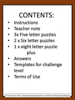 Word Work Puzzles: Ladder words.