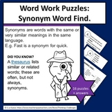 Word Work Puzzles : Synonyms